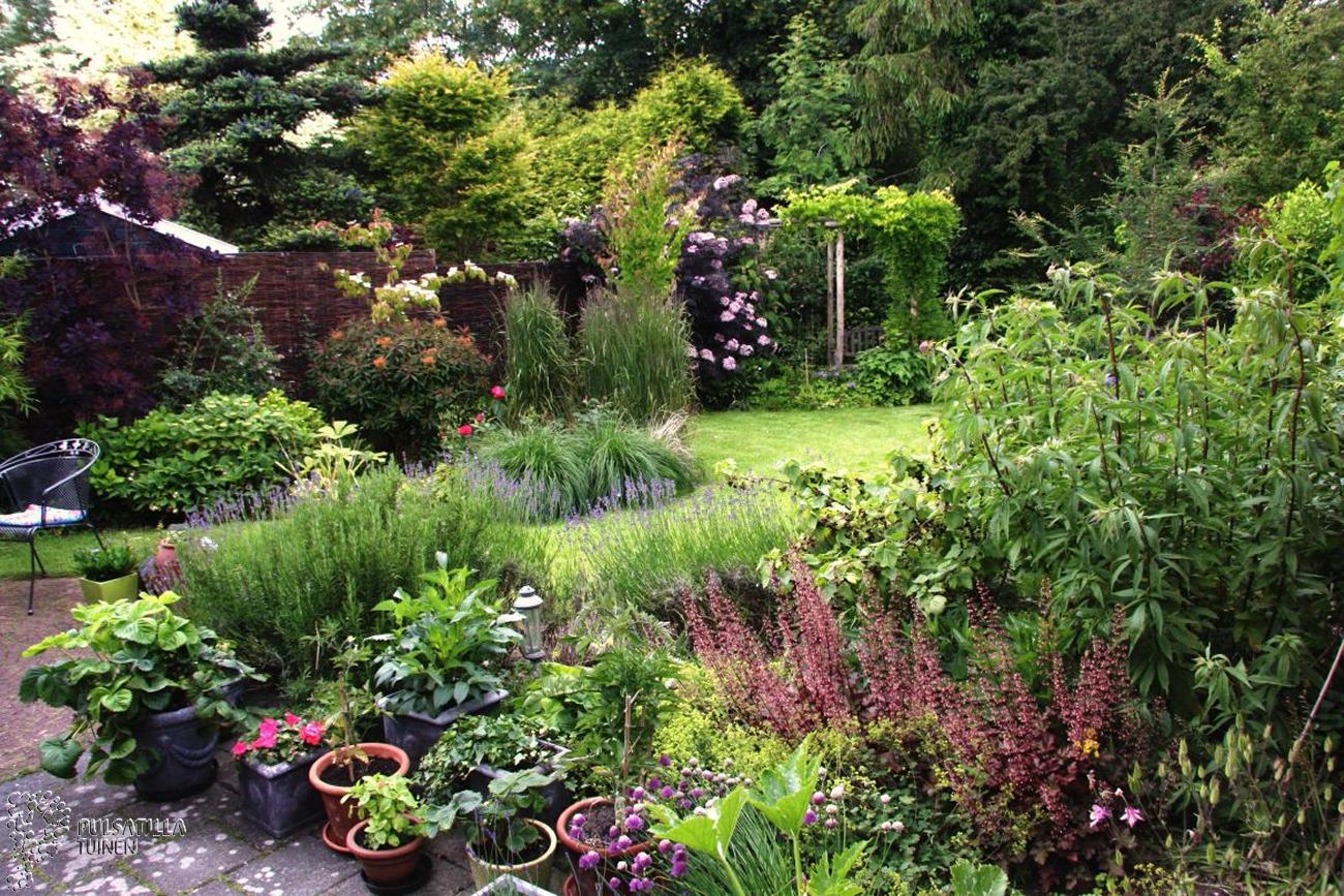 Glooiende lijnen tuin met veel bloemen