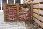 tuinmuren, klinkers in betongaas, afscheiding, steen